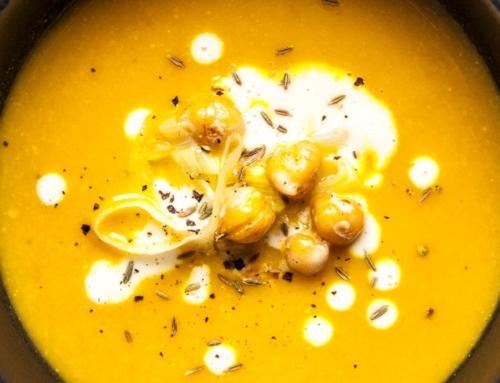 Kichererbsen-Lauch-Suppe mit Cashewsauce