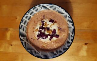 frische Rotkabis-Marroni-Suppe