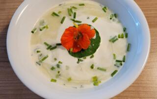 frische Zucchetti-Suppe mit Parmesan